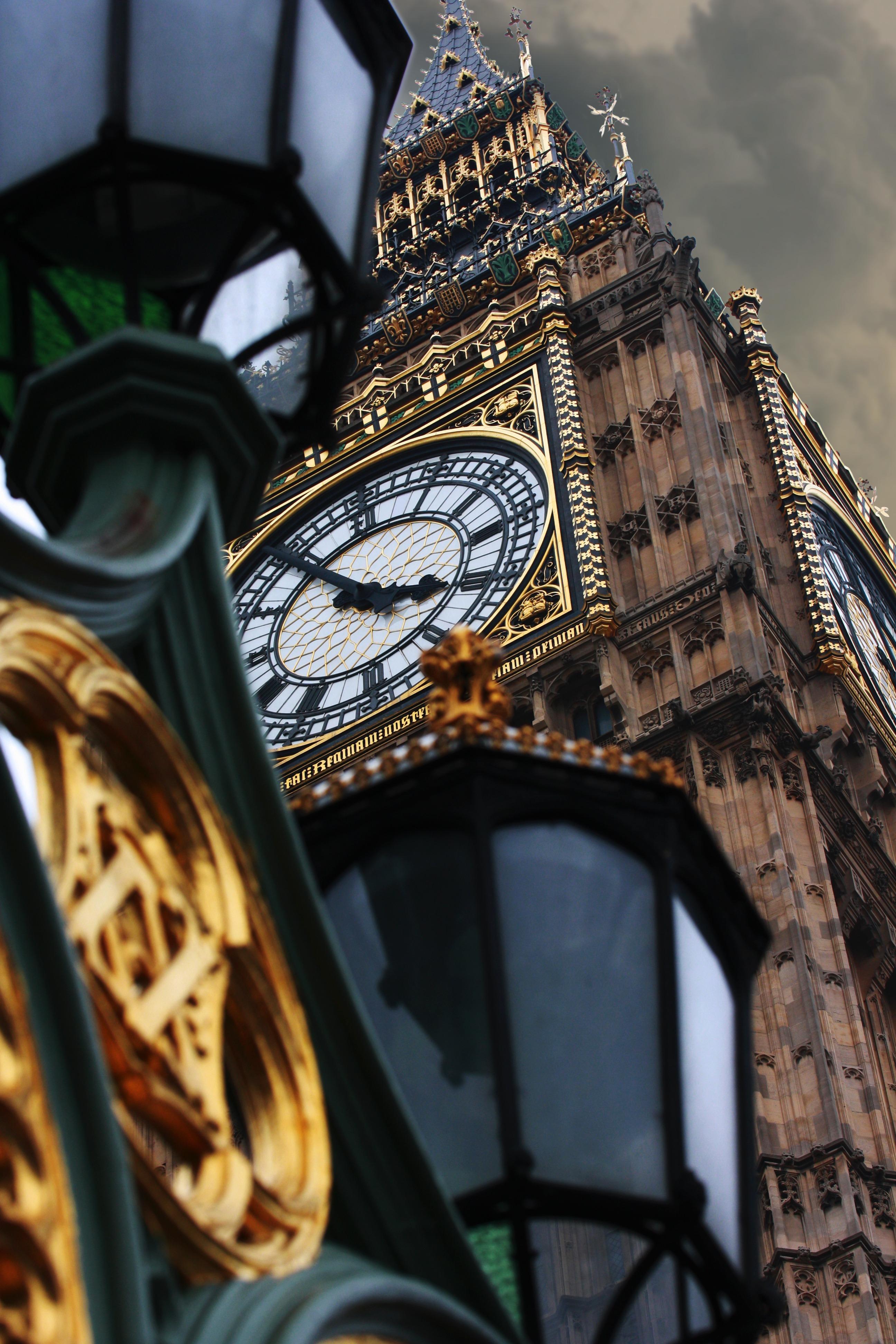Moody clock tower close-up
