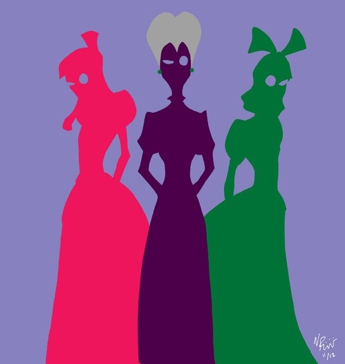 Drawing of Cindarella's step mom and two step sisters