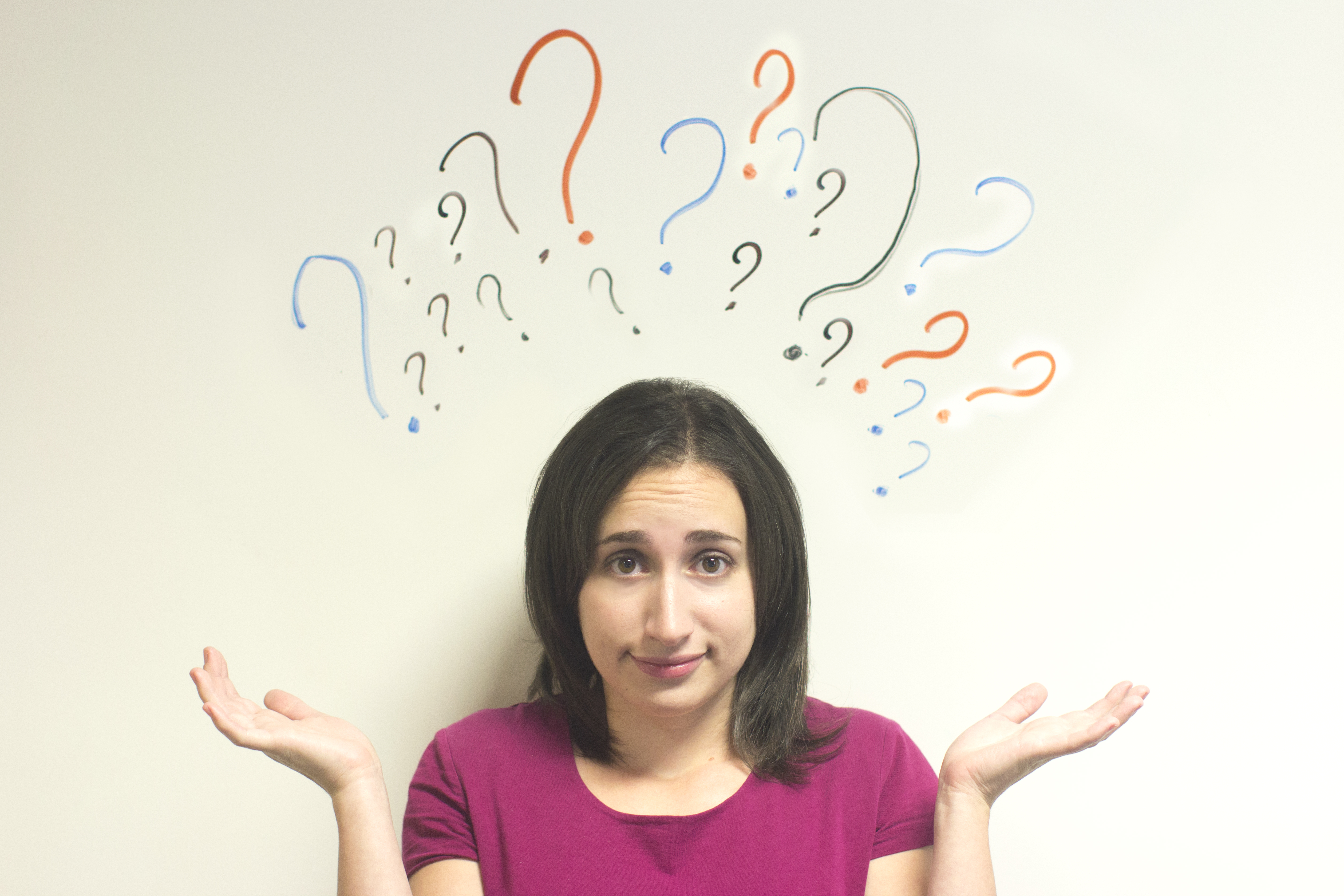 Confused woman with questions