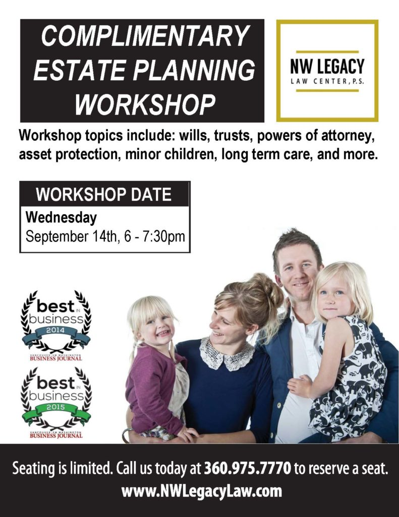 Complimentary estate planning workshop promotional flier