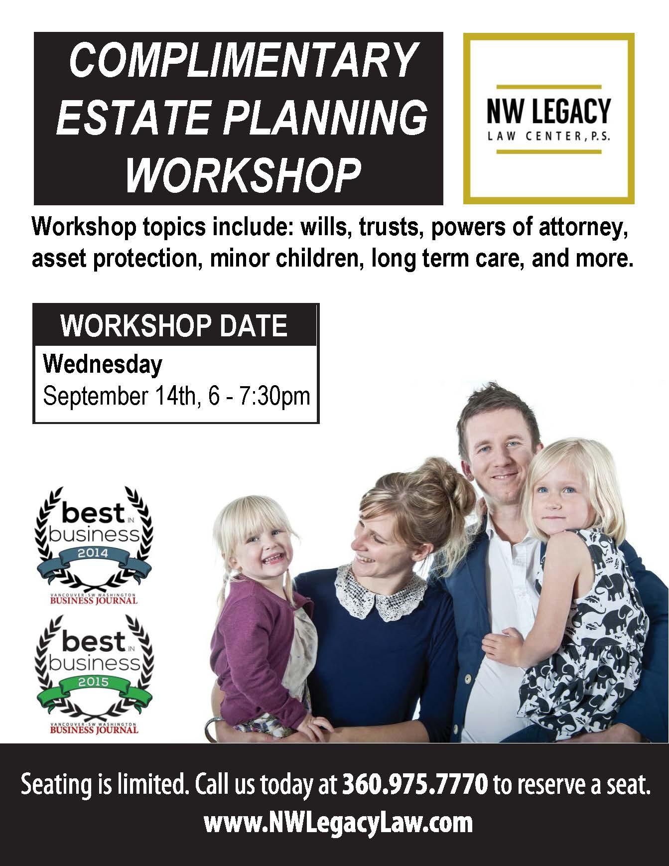 Complimentary estate planning workshop promotional flier